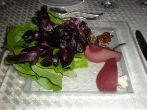 Butter lettuce salad with port infused pear