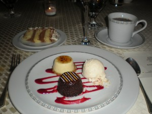 Dessert trio: Creme brule, chocolate pate, coconut ice cream