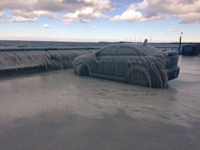 Frozen Car Lake Erie
